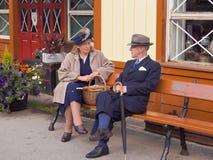 Fine settimana di rimessa in vigore 1940, Embsay, Yorkshire, Regno Unito Immagini Stock