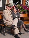 Fine settimana di rimessa in vigore 1940, Embsay, Yorkshire, Regno Unito Fotografie Stock Libere da Diritti