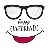 Fine settimana felice Progettazione positiva del handwrittenweekend di citazione immagini stock libere da diritti