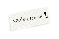 Fine settimana! Testo di scrittura della mano. Fotografie Stock