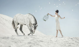 Fine shot of the sensual lady with the horse Royalty Free Stock Photo