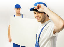 Fine shot of two working employees Stock Images