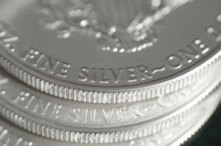 Fine Silver (Words) of US SIlver Eagle Coin Royalty Free Stock Photo