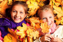Fine sisters. Portrait of two cute girls sisters lying on the leaves at the autumn park Stock Images