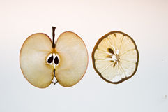 Fine slice fo apples and limon Royalty Free Stock Photography