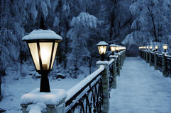 The fine snow evening in mountains Stock Photography