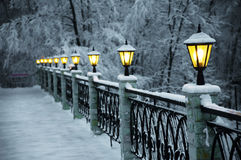 The fine snow evening in mountains Royalty Free Stock Images