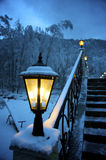 The fine snow evening in mountains Stock Image