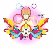 Fine sports symmetric composition with a cup and p. Atterns on a white background Stock Photo