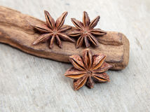 Fine star anis. On wooden background Royalty Free Stock Photography