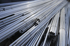 Fine steel pipes. In the construction site Royalty Free Stock Image