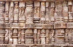 Fine stone work of various sculptures, Sun Temple Royalty Free Stock Photo