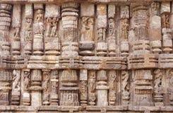 Fine stone work of various sculptures, Sun Temple. Konark Sun Temple  also known as the Black Pagoda ia a 13th-century Sun Temple at Konark, in Orissa.The entire Royalty Free Stock Photo