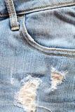 Fine su del dettaglio delle blue jeans delle donne con la tasca vuota Fotografia Stock Libera da Diritti