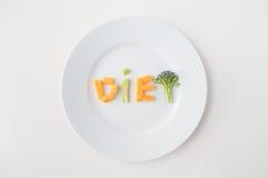 Fine su del piatto con le lettere di verdure di dieta immagine stock