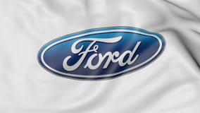 Fine su della bandiera d'ondeggiamento con il logo di Ford Motor Company, rappresentazione 3D Immagine Stock Libera da Diritti