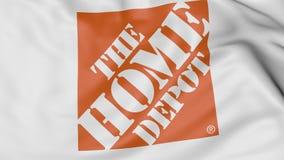 Fine su della bandiera d'ondeggiamento con il logo di Home Depot, rappresentazione 3D Fotografie Stock