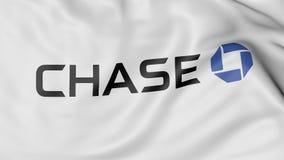 Fine su della bandiera d'ondeggiamento con il logo di JPMorgan Chase Bank, rappresentazione 3D Fotografia Stock Libera da Diritti