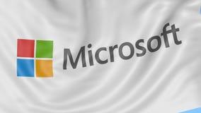 Fine su della bandiera d'ondeggiamento con il logo di Microsoft, ciclo senza cuciture, fondo blu Animazione editoriale 4K ProRes, royalty illustrazione gratis