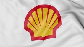 Fine su della bandiera d'ondeggiamento con il logo di Shell Oil Company, rappresentazione 3D Fotografia Stock