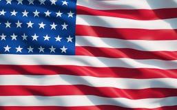 Fine su della bandiera dello stato unito dell'America Immagini Stock Libere da Diritti
