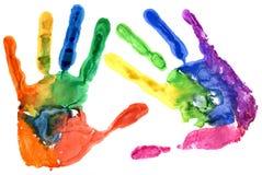 Fine su della stampa colorata della mano su bianco Fotografie Stock