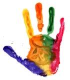 Fine su della stampa colorata della mano su bianco Immagine Stock