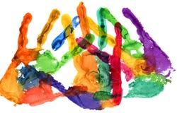 Fine su della stampa colorata della mano su bianco Fotografia Stock Libera da Diritti