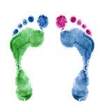 Fine su delle stampe variopinte del piede isolate su bianco Immagini Stock Libere da Diritti