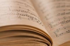 Fine su dello spartito e delle note classici di musica del piano Fotografia Stock Libera da Diritti