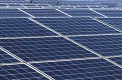 Fine su matrice di file delle cellule solari al silicio o del photovoltaics policristalline al giro solare della centrale elettri Immagini Stock Libere da Diritti