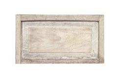 Fine su vecchia struttura di legno vuota del segno nei modelli naturali isolati su fondo bianco con il percorso di ritaglio fotografie stock libere da diritti