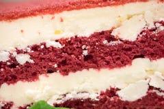 Fine sul dolce rosso del velluto nel piatto bianco con la foglia della menta piperita I fotografia stock libera da diritti