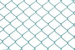 Fine sul recinto verde del metallo su fondo isolato bianco fotografie stock