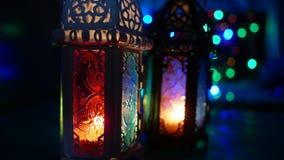 Fine sulla messa a punto dello studio di scarsa visibilit? sparata della lanterna accesa - mostrando il kareem del Ramadan o cele stock footage