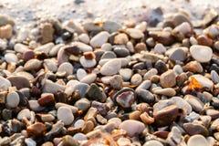 Fine sulle pietre della spiaggia sulla spiaggia Alba di estate sulla costa, isola di Corf?, Grecia Mare ionico della spiaggia wal fotografia stock libera da diritti