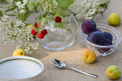 Fine summer breakfast Royalty Free Stock Images