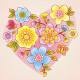 Fine summer flowers with butterfly, ladybird and heart. Light pink seamless background. It can be used for decorating of wedding invitations, greeting cards and Stock Images