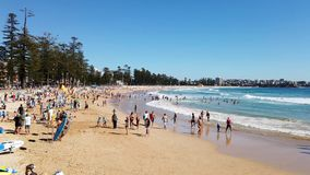 Summer morning at Manly Beach, Sydney, Australia. A fine summer morning at the Pacific Ocean yellow sand Manly Beach, Sydney, NSW, Australia, with white capped stock video footage