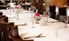 Fine table setting in gourmet restaurant Royalty Free Stock Photos