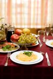 Fine table setting in gourmet restaurant Royalty Free Stock Photo