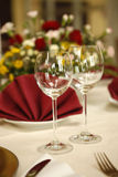 Fine table setting in gourmet restaurant stock image