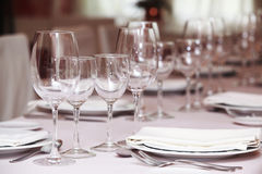 Fine table setting in gourmet restaurant (close-up) Stock Images