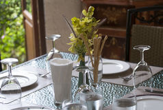 Fine table setting in restaurant Royalty Free Stock Photography