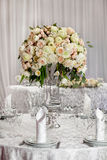 Fine table setting with roses Royalty Free Stock Image
