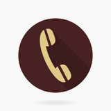 Fine Telephone Receiver Flat Icon. Fine golden telephone receiver in the brown circle. Flat design with long shadow Royalty Free Stock Photography