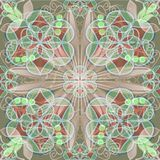 Fine tile in art deco style with lace patterns in red and green pastel Royalty Free Stock Image
