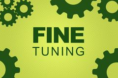 FINE TUNING concept. FINE TUNING sign concept illustration with green gear wheel figures on pale green background royalty free illustration