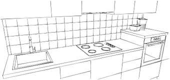 Fine ultra moderna del contatore di cucina su Fotografia Stock