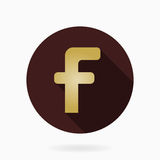 Fine Vector Flat Icon With Letter F. Fine vector golden letter F in the circle. Flat design and long shadow Stock Photo